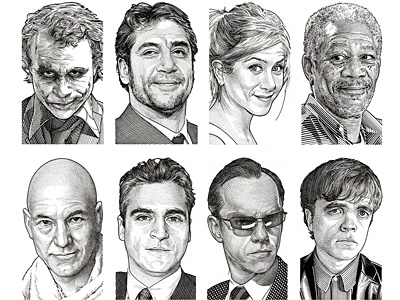 Wall Street Journal Hedcuts 2 celebrities illustration people portraits pen  ink