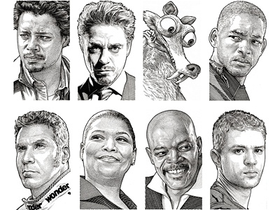Wall Street Journal Hedcuts 3 portraits people pen  ink illustration celebrities