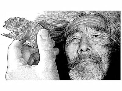 Alaskan Cruise pen  ink illustration people portrait stipple