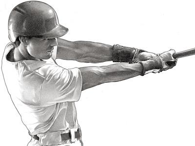 Baseball Player pen  ink illustration people portrait stipple sports baseball