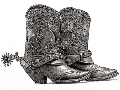 Cowboy Boots pen  ink stipple illustration boots cowboy boots drawing realistic