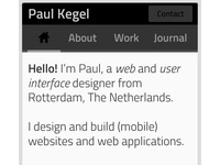 Personal mobile website (redesign)