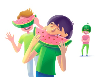 Watermelone party melon watermelon sweet tasty delicious fun green boy summer fresh illustration party