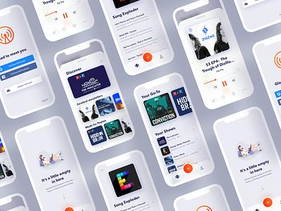 Overcast App Redesign branding app vector minimal ios clean bright mobile app podcast mobile design illustration ui