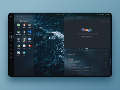 Design concept for an iOS-like linux desktop environment code blur desktop minimalist linux dark ios ui minimal design