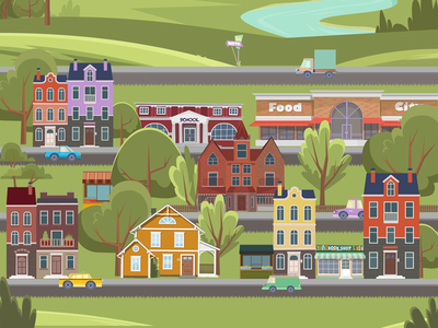 City river vector town road car illustration red green trees city house