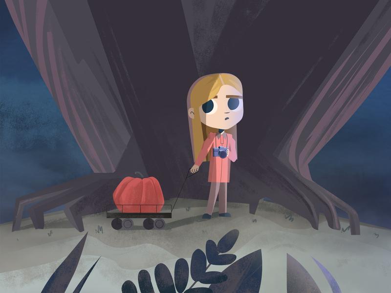 halloween night spooky night halloween girl 2d character illustration forest