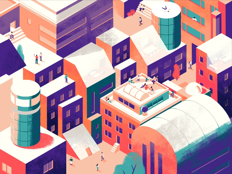 City 2d happiness harmony people color illustration city