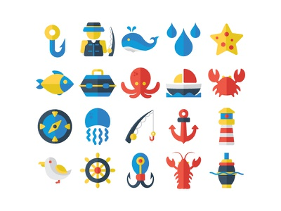 Nautical icon set whale jelly fish fish star fish crab lobster compas fisherman nautical