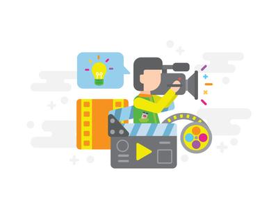 Creative video illustration creative play film roll cameraman movie camera video