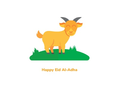 Happy Eid Al-Adha grass smile animal moslem adha eid goat