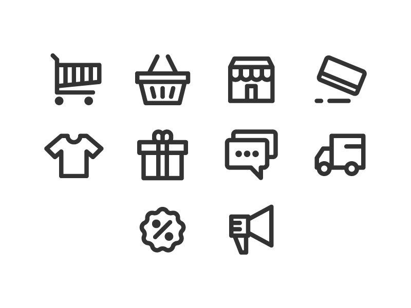 E Commerce Pixel Perfect icon (Free Download) freebies pixel perfect credit card discount t shirt delivery marketing basket e commerce