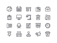 office outline set icon