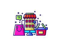 E commerce icon set color