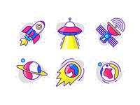 Space icon set color