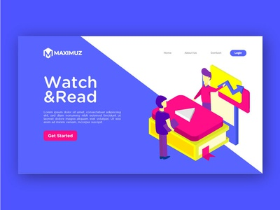 Watch and read illustration landing page isometric read watch landing page ui illustration character icon
