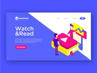 Watch and read illustration landing page
