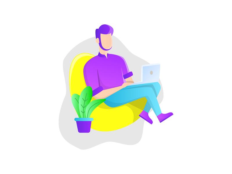 daily illustration sit laptop illustration ui character