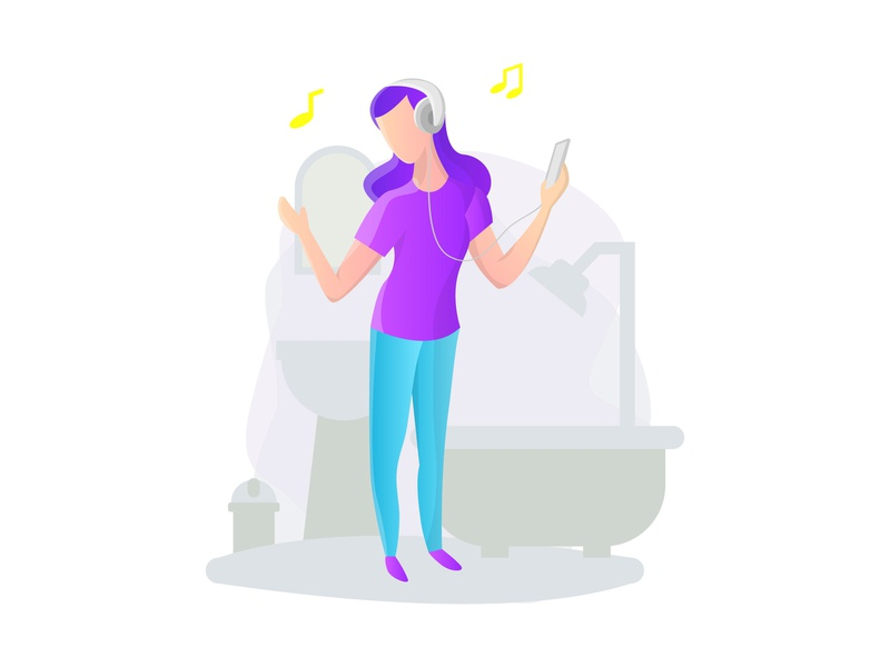 Daily illustration, sing a song in bathroom bathroom sing vector ui character