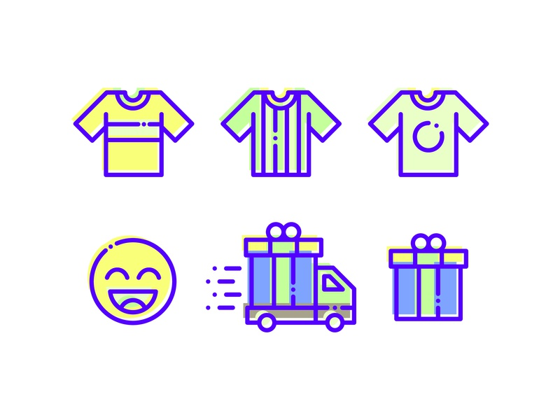 Ecommerce simple set icon satisfied deliver send packing tshirt icon ecommerce