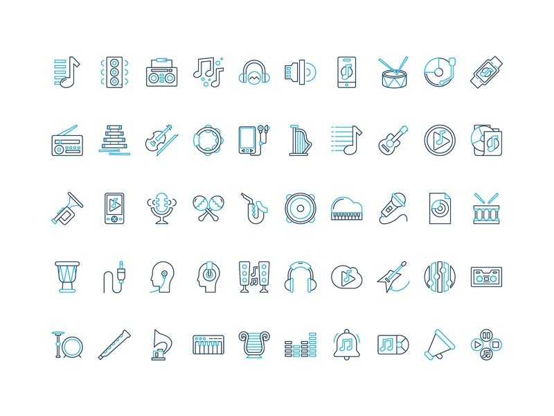 50 music set icon free download by Rudez Studio on Dribbble