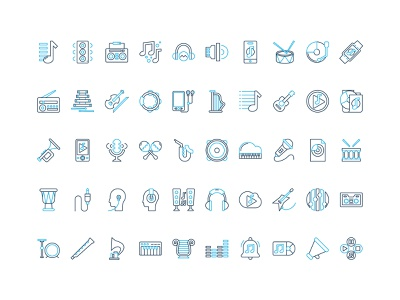 50 music set icon free download sound drum melody headset guitar piano violin music vector icon