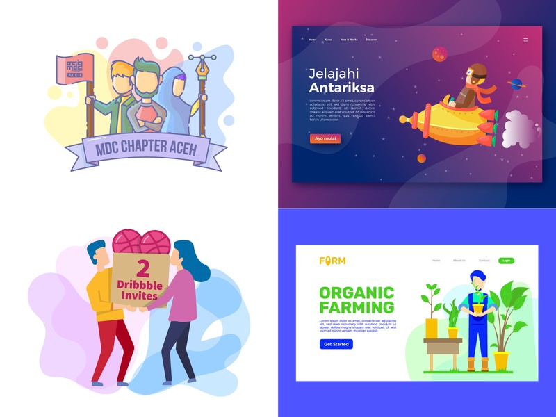 My Top 4 vector illustration landing page ui character icon