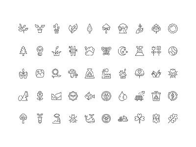 50 Nature Icon Set Free Download flower plant leaf mountain tree ecology eco icon nature
