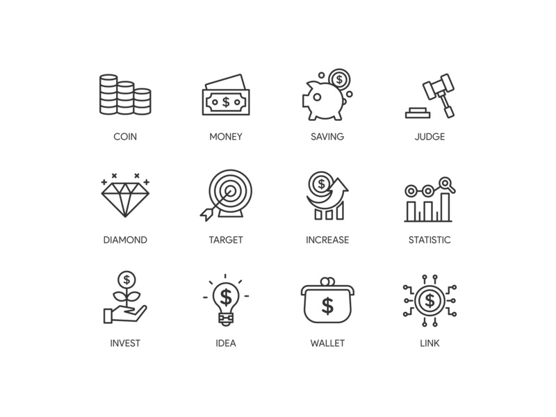 Finance set icon money finance icons