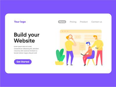 Build website landing page illustration vector landing page illustration ui character