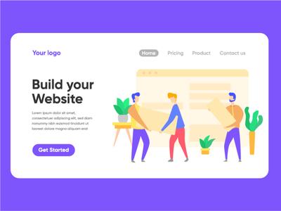 Build your website landing page illustration vector landing page illustration ui character