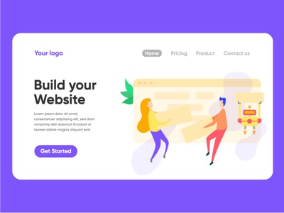 Build your website landing page illustration vector landing page ui illustration character