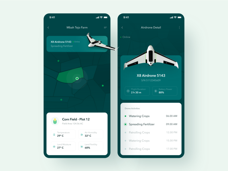 Smart Agriculture App - UI Design green crops drone land map map geographical information system gis field cornfield agriculture clean minimalism design ui user interface