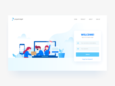 Login Exploration user interface blue white simple clean uxui login website