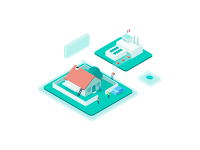 Product Service Illustration vector illustration factory house building isometric