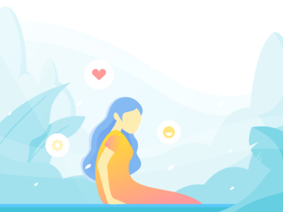 Relieved Illustration Exploration illustration mindful peace relieved happy woman