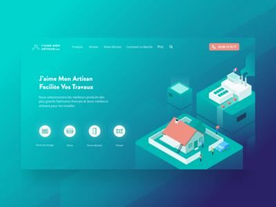 Landing Page Design for J'aime Mon Artisan landing page design web design uxui vector illustration factory house building isometric