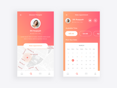 Therapist Profile UI Exploration mental health medical ios simple therapist user interface design ux design uiux profile