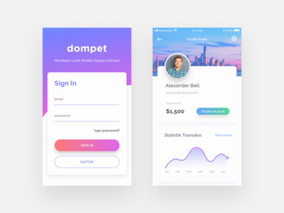 Dompet UI Exploration gradient bright mobile uiux payment wallet