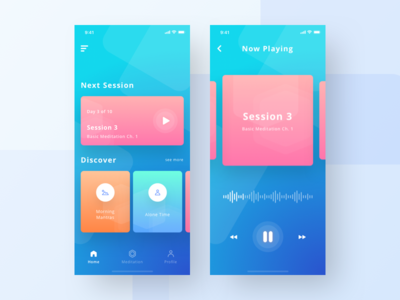 Meditation App UI Exploration colorful play music iphonex ios mobile app mindfulness meditation