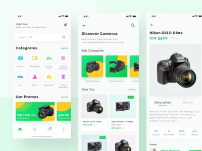 Tools & Equipments Rental App sales product mobile interface ui ux iphonex minimalism green marketplace e-commerce camera rental