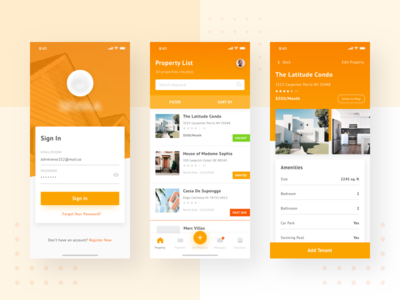 Property Rental App Design Concept ux ui uiux simple white clear iphonex rent apartment house property gradien minimalism