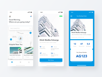 UI Design for Hospital Queue Booking App queue ticket booking clinic hospital blue white iphonex building uxui minimalism user interface uiux clean simple