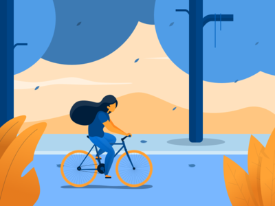 Girl Riding Her Bike clean flat girl bicycle bike illustration