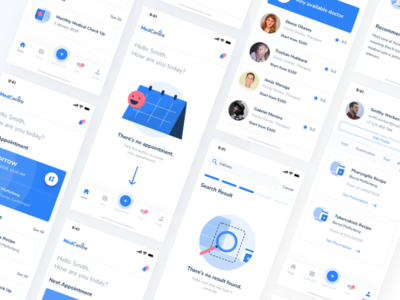 UI Design for Doctor Appointment Booking App blue simple illustration clean minimalism drug prescription clinic medical app medical record booking appointment doctor appointment doctor