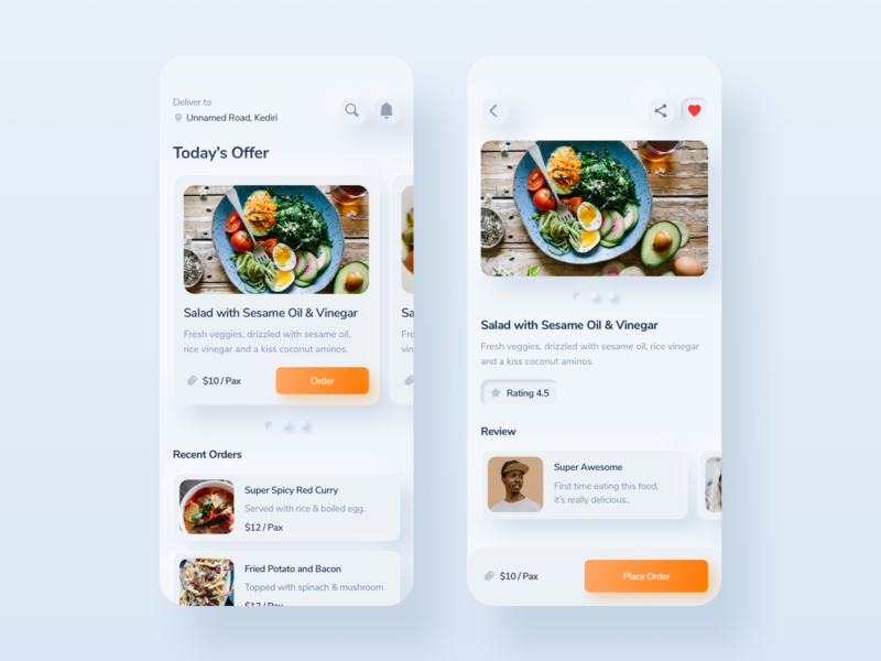 Neumorphic Food Ordering App order food food app app design mobile skeumorphism neumorphism whitespace uiux user interface minimalism simple clean