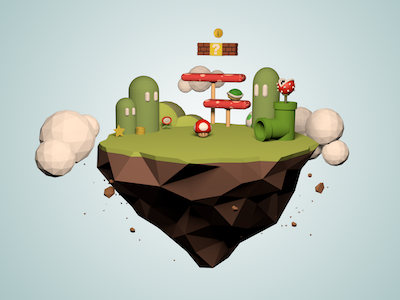 Low-poly Super Mario Island super modeling mario low-poly island cinema4d 3d