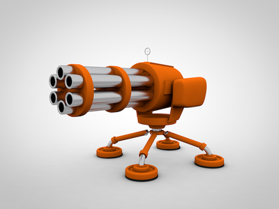 Gatling Gun turret low-poly cinema4d modeling model 3d gun gatling