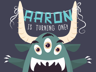 Birthday Monster illustrator birthday invitation monster first birthday