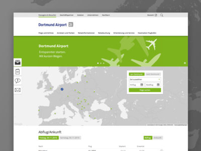 Dortmund Airport website airport clean green flight site typo3 search responsive cms